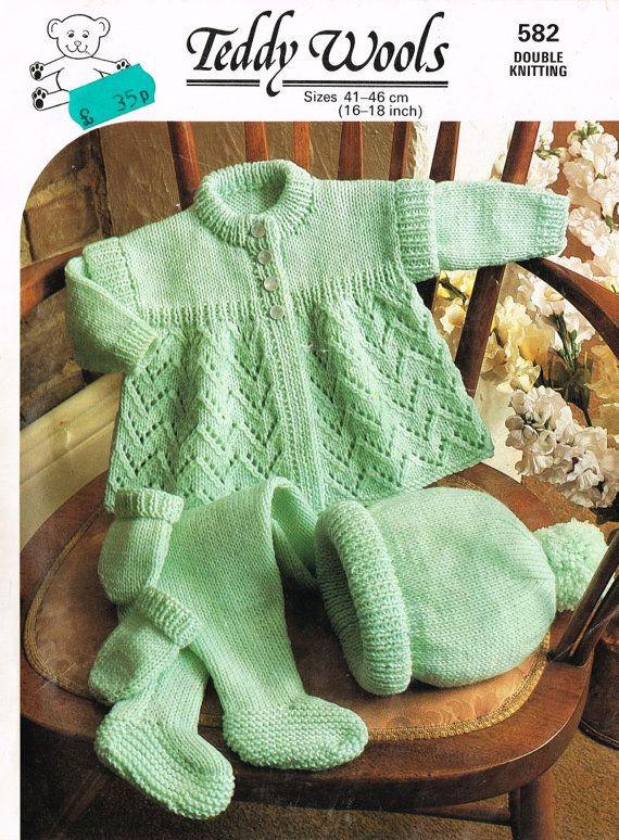 Teddy 582 baby pram suit vintage knitting pattern PDF instant download