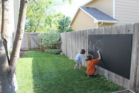 Outdoor chalkboard. MDO plywood, primer, qrt of chalkboard paint,  6 galvanized  wood screws. Hung bucket of chalk. Drilled holes into bucket to avoid water from collecting.