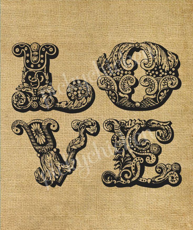 Baroque LOVE - romantic ornate lettering flourishes