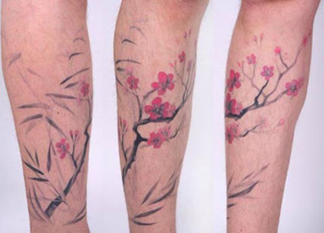 plum blossom watercolor tattoos, leg tattoos for woman, flower tattoos images