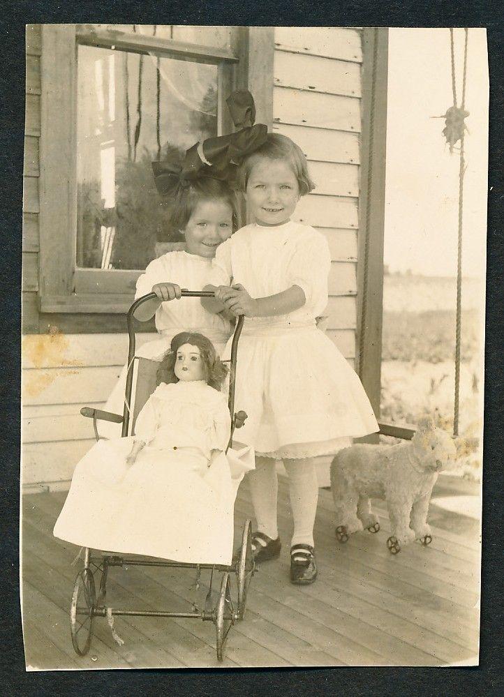 1910 Victorian Girls w Toys Vintage Real Photo Postcard | eBay