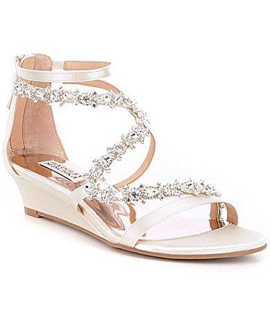 Badgley Mischka Belvedere Demi Wedge Satin Stone Embellished Dress Sandals #Dillards