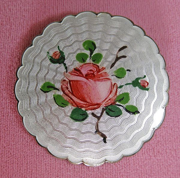 Vintage Sterling Enamel Guilloche Norway Holt Rose Brooch from quick-red-fox on Ruby Lane