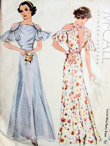 1930s GORGEOUS BIAS CUT EVENING PARTY GOWN DRESS PATTERN FLUTTERING CUT OUT SLEEVES, LOW V BACK , GIRDLE BELT McCALL 8688