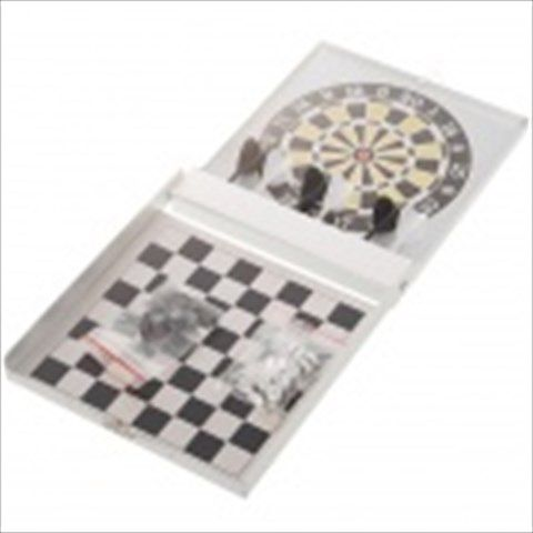 Portable 2-in-1 Chess + Magnetic Dart Game Set in Aluminum Alloy Box $20.35