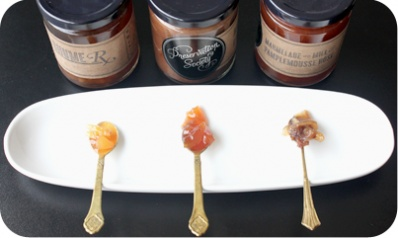Marmalade Sampler - 3 marmalades with the wildest flavours. Ginger-lemon-bourbon-cayenne / pears-chocolate-violet / pink-grapefruit-honey