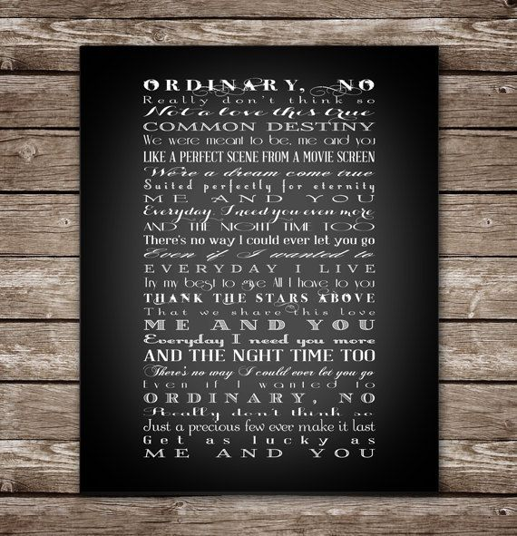 """Me and You by Kenny Chesney - Full lyrics - First Dance - Wedding Song - Printable - 11x14"""" AND 16x20"""" INSTANT DOWNLOAD"""