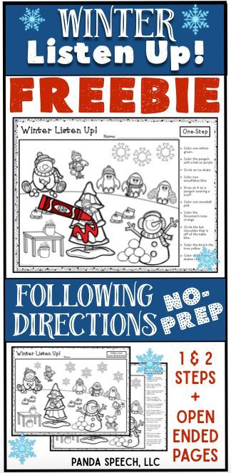 winter listen up following directions freebie dabbling with winter speech therapy following. Black Bedroom Furniture Sets. Home Design Ideas