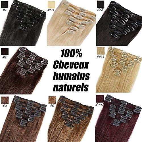 S-noilite® Extensions de cheveux humains naturels à clips – 100% Remy hair – 25cm-70g ,#01 Noir – 8MECHES / 18CLIPS – Haute Qualité: Grade…