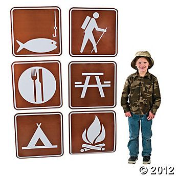 Camping cutouts from Oriental Trading---would love to find some free printable versions of this!!!