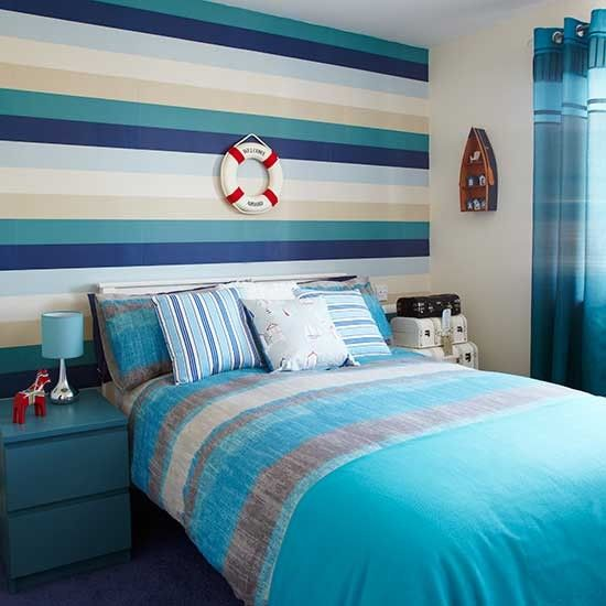 Fantasy fields by teamson outer boys nautical bedroom for Striped wallpaper bedroom designs