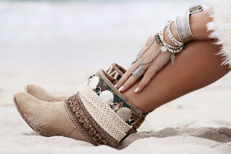 boho embellished boots! I think you could add similar embellishments to regular short suede boots. These are so awesome.: