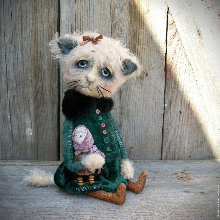 Купить Котенок Дашенька тедди мишки тедди  винтаж и их друзья - тёмно-зелёный, котенок