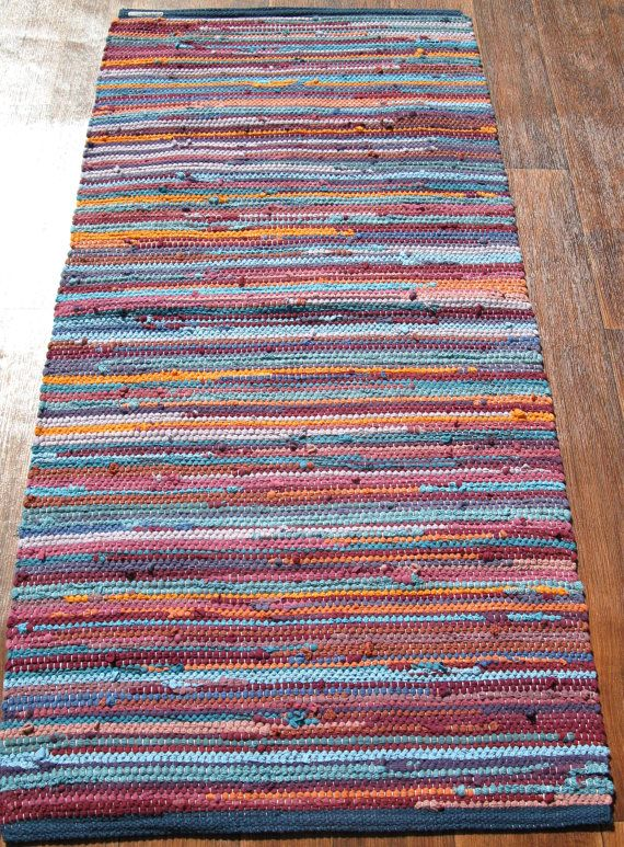 Handwoven Rug - Woven from Recycled T-shirts 27x57. $113.00, via Etsy.