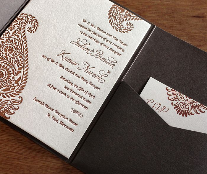 Rich brown mehndi inspired paisley wedding invitation set with matching pocket folder and rsvp card. A lovely invitation set for a multicultural or Indian wedding. | Invitations by Ajalon | invitationsbyajalon.com