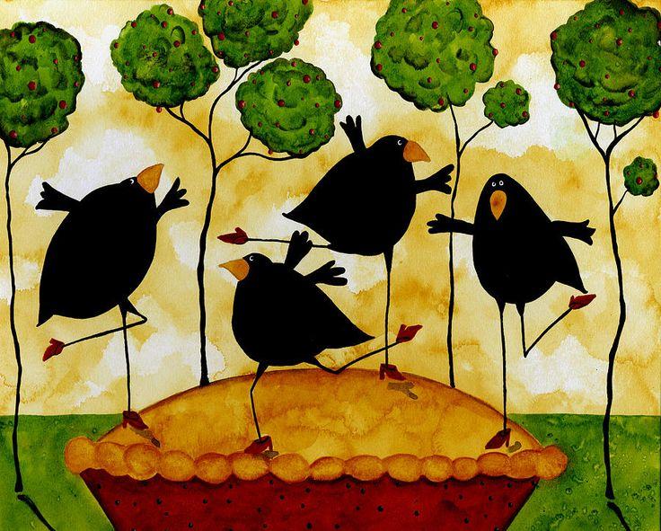 Apple Pie Crow Bird Blackbird Raven Wildlife Animal  Whimsical Folk Debi Hubbs Art Painting
