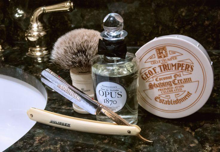 "Trumper's coconut oil shave cream, Simpson badger brush, Friedellko 5/8"" ""Saturday"" straight razor, Penhaligon's Opus 1870 cologne, October 28, 2017.  ©Sarimento1"