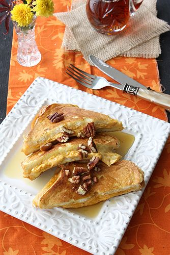 Pumpkin Stuffed French Toasts With Pecans