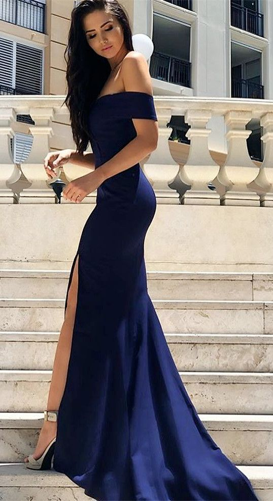 elegant off shoulder prom party dresses with split, simple navy evening gowns, formal dresses