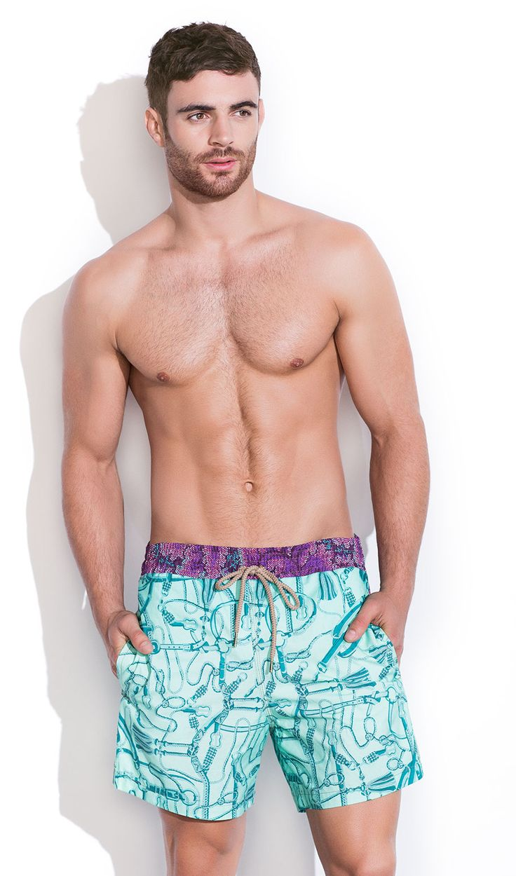 Maaji Men Swim Trunks brings you it's CLASSIC CUT Long Minty Windy Reins (143TS)