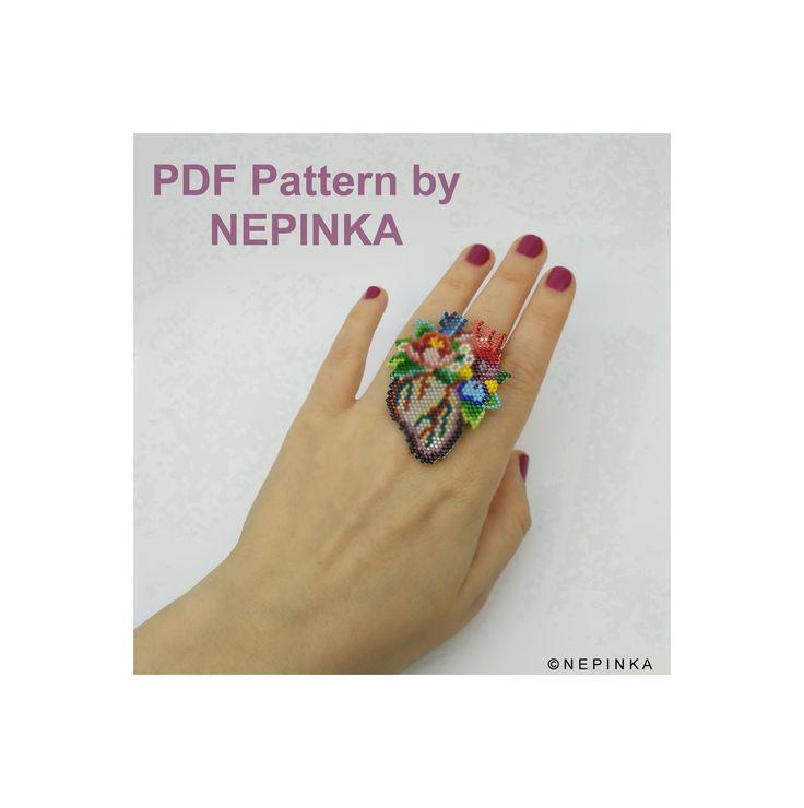 New pattern in my shop ©Nepinka #peyotepattern #peyotering #miyukiaddict #miyuki #miyukibeads #miyukiring #brickstitch #etsy #diy #beadwork #anatomicalheart #doctor #miyukidelica #tissageperles #tissagemiyuki #coeur #coeuranatomique #tissage #tissagediy #floral #jewelry #brooch #pendant #ring #gift #giftideas #fingerporn #fingertattoo #nails
