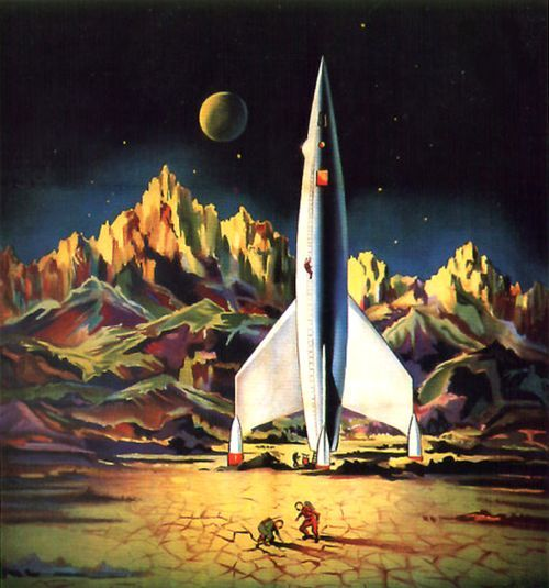 1950s science fiction art found on for Vintage outer space decor