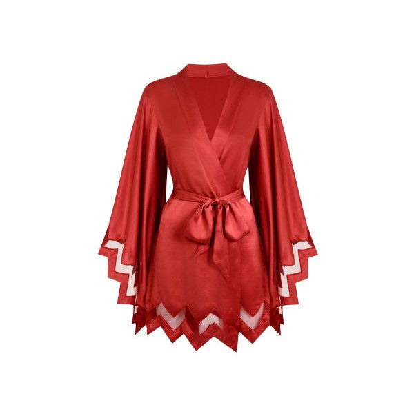 Agent Provocateur Amara Kimono Red ($585) ❤ liked on Polyvore featuring intimates, robes, kimono, gowns & kimonos, nightwear, red, agent provocateur, kimono robe, red kimono and red robe