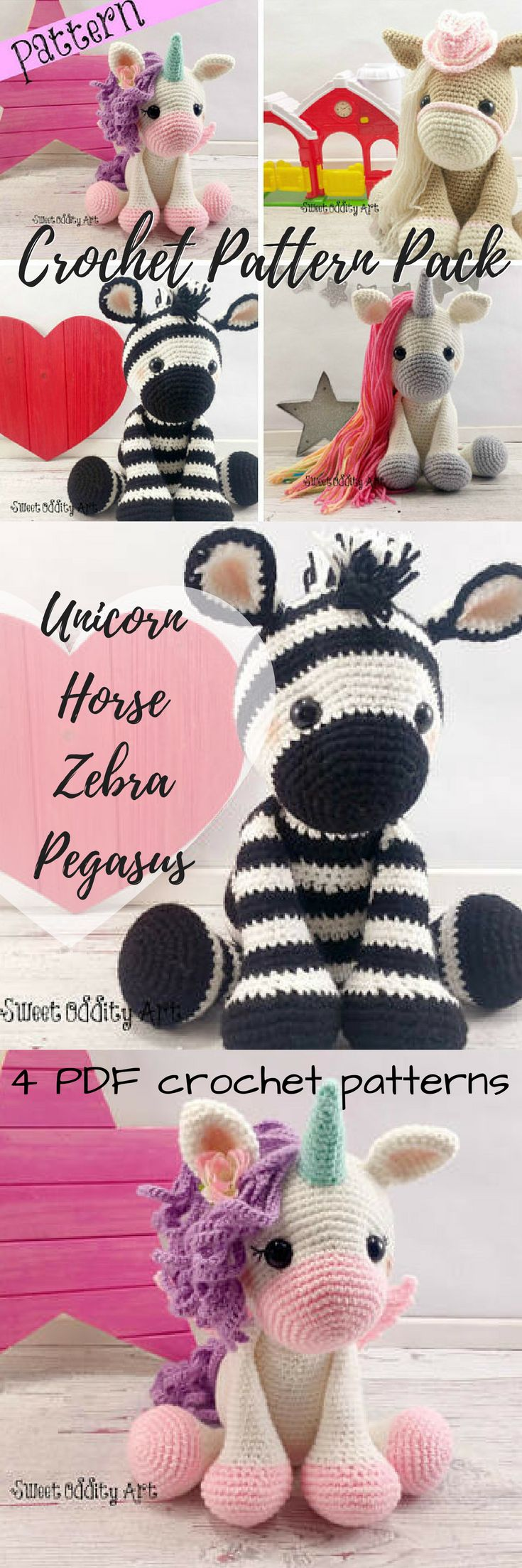 Four super cute crochet amigurumi patterns in one! Lovely little horse, unicorn, Pegasus and zebra crochet patterns for these adorable toys! #etsy #ad #amigurumi