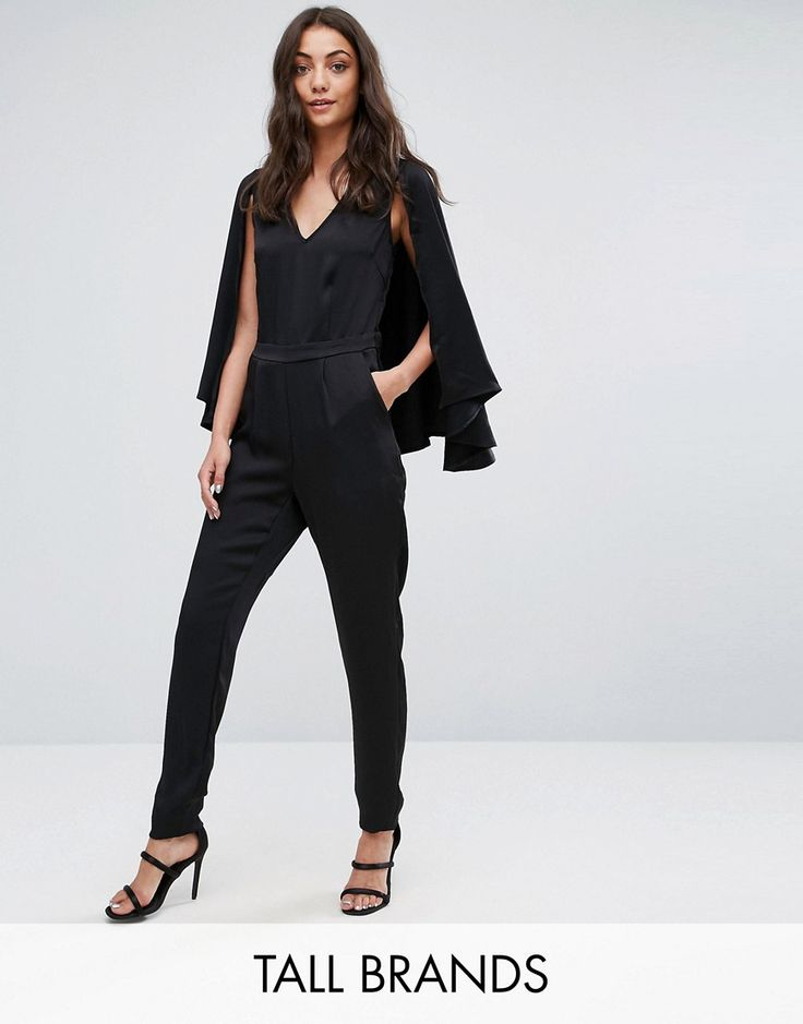 Y.A.S Tall Cape Jumpsuit - Black