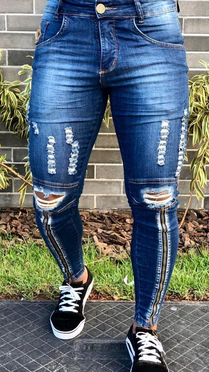 Calca Jeans Skinny Destroyed C Ziper Dark Codi Jeans Calca Codi Cziper Dark Destroyed Jeans Skinny Mens Jeans Slim Pants Outfit Men Men Jeans Pants