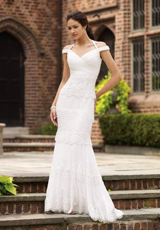 Polished Off the Shoulder Halter Tiered Lace Satin Mermaid Wedding Frocks  - Mermaid Wedding Dresses - Wedding Dresses