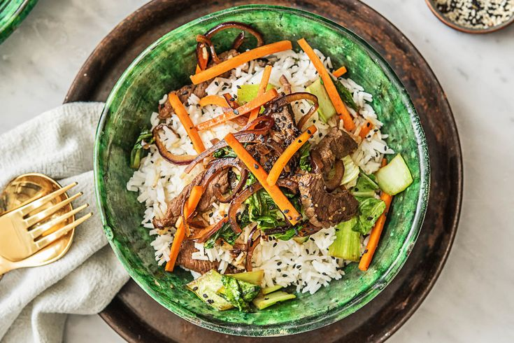 Teriyaki Beef with Shanghai Bok Choy and Carrots