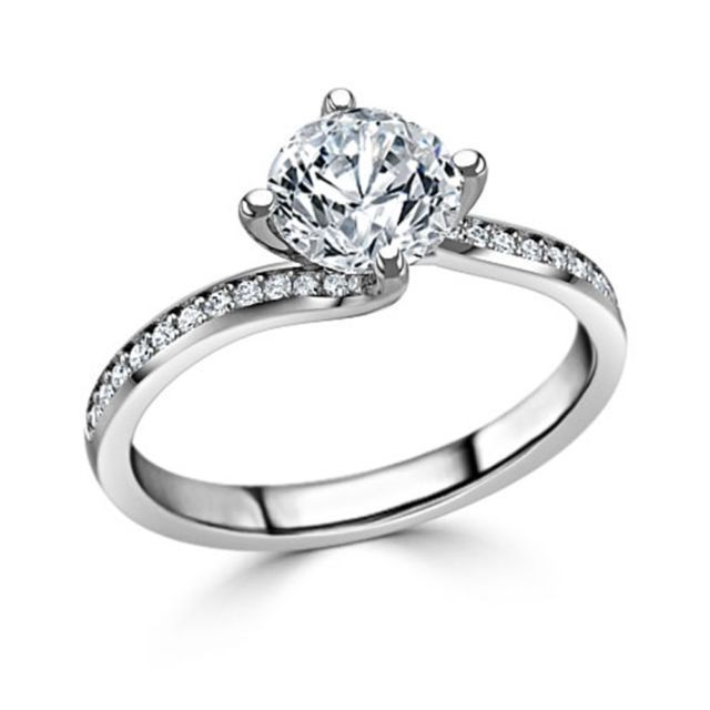 1.50Ct White Round Moissanite Three-Stone Engagement Ring 925 Sterling Silver