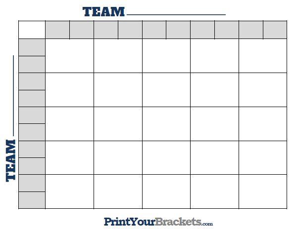 Printable College Football 25 Square Grid Super Bowl Pool Football Pool Superbowl Squares