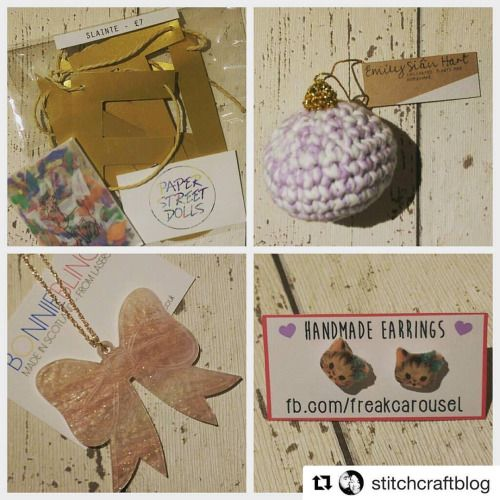 Feeling the love from all the lovely peeps sharing photos of their psd swag from the etsy made local event on Sunday 😍💖   #Repost @stitchcraftblog with @repostapp ・・・ @glasgowetsy Now the second lot of purchases from #etsymadelocal weekend. Clockwise from top left: Slainte gold bunting from super duo @paperstreetdolls; perfect christmas tree decoration from @emilysianhart; wonderfully adorable kitten earrings from @addisonvada aka Freak Carousel and super sparkly bow necklace from @bonnie