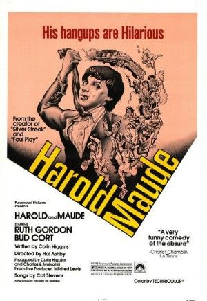 Harold and Maude is a 1971 American dark comedy film directed by Hal Ashby and released by Paramount Pictures. It incorporates elements of dark humor and existentialist drama, with a plot that revolves around the exploits of a young man named Harold (played by Bud Cort) intrigued with death. Harold drifts away from the life that his detached mother (Vivian Pickles) prescribes for him, and develops a relationship with a 79-year-old woman named Maude (played by Ruth Gordon).