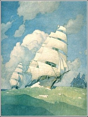 N. C. Wyeth  One of the 4 mural paintings in  The First National Bank of Boston  Each painting measures 12 x 15 Feet