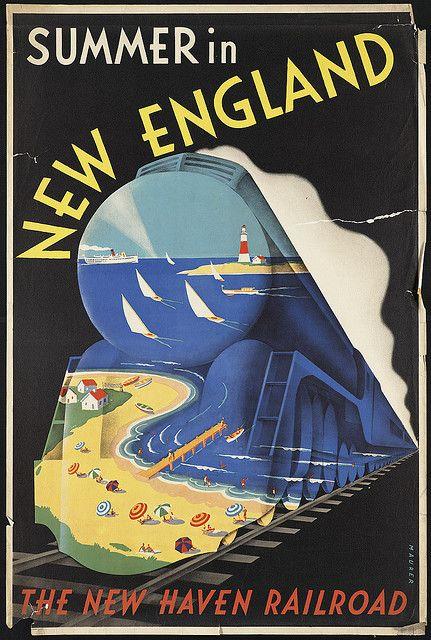 Vintage poster promoting railroad travel: 'Summer in New England' #vintage #travel #poster #USA