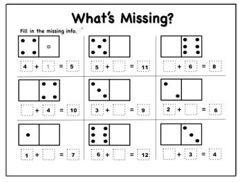 math worksheet : 28 best kids education early math skills images on pinterest  : Domino Math Games For Kindergarten