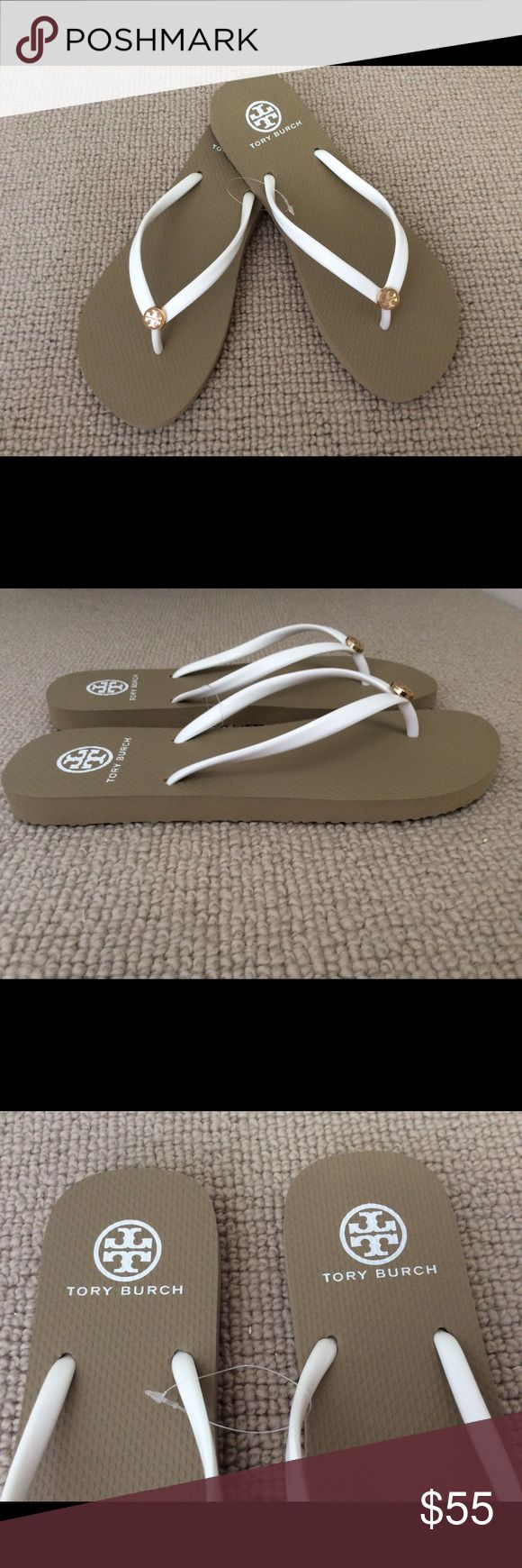 NEW TORY BURCH WHITE/BEIGE FLIP FLOPS SIZE 10 Authentic Tory Burch white beige flip-flops. Enamel logo. The size is 10. Rare and sold out everywhere. Does not come with a box. Thank you for checking out my closet Tory Burch Shoes Sandals