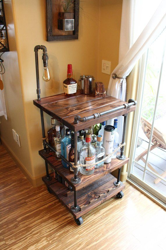 unique bar carts round gold bar rustic bar cart light lamp industrial pipe wood unique