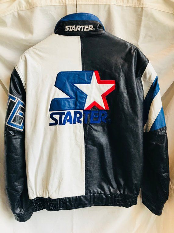 Starter Leather Jacket Full Zip Vintage Large Big Logo Rare in 2019 ... 1c34e1b83
