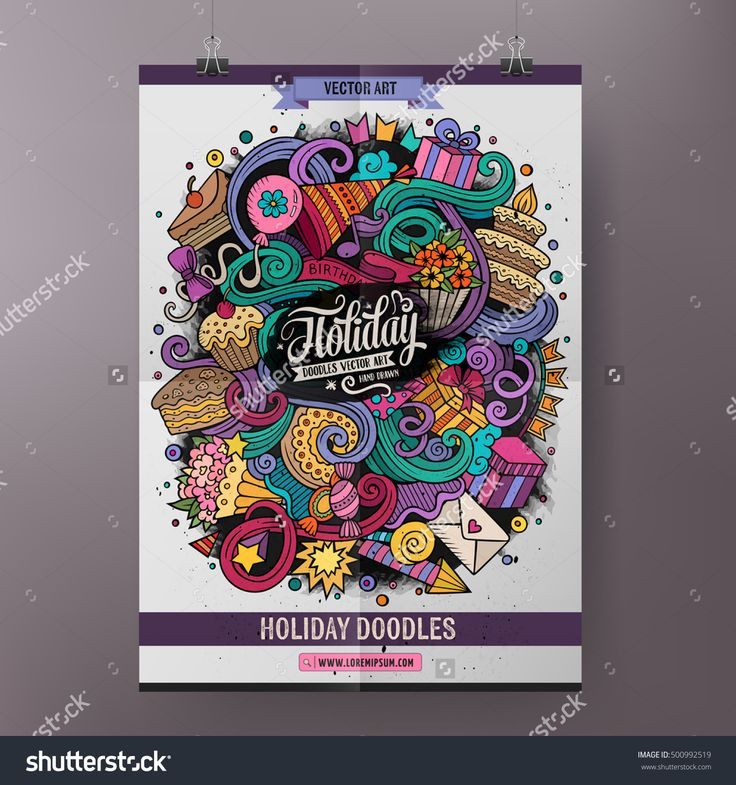 Cartoon colorful hand drawn doodles Holiday poster template. Very detailed, with lots of objects illustration. Funny vector artwork. Corporate identity design.