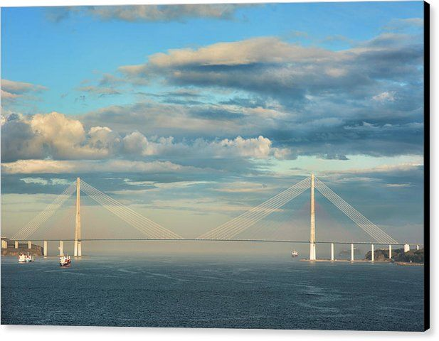 Mariia Kalinichenko Canvas Print featuring the photograph The Russky Bridge And Clouds by Mariia Kalinichenko #MariiaKalinichenkoFineArtPhotography #InreriorDesign #Brige #Travel #FineArtPrint #FineArtPhotography