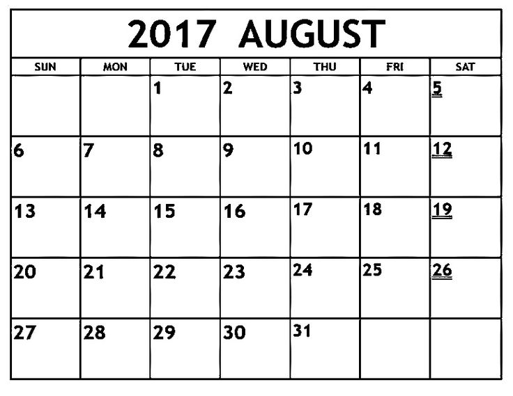 26 best 2017 august calendar images on Pinterest August calendar - calendar template pdf