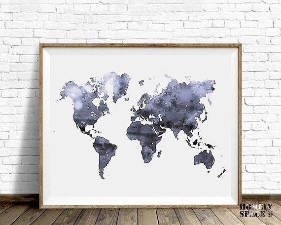 Gray World Map Wall Art World Map Print Gray Watercolor Map World Map Art Map Of The World World Map Poster Printable World Map Download Art World Map Art Map Wall