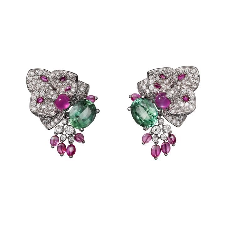 "CARTIER. ""Disa"" Earrings - white gold, star rubies, tourmalines, brilliant-cut diamonds. #Cartier #CartierMagicien #HauteJoaillerie #HighJewellery #FineJewelry #StarRuby #Tourmaline #Diamond"