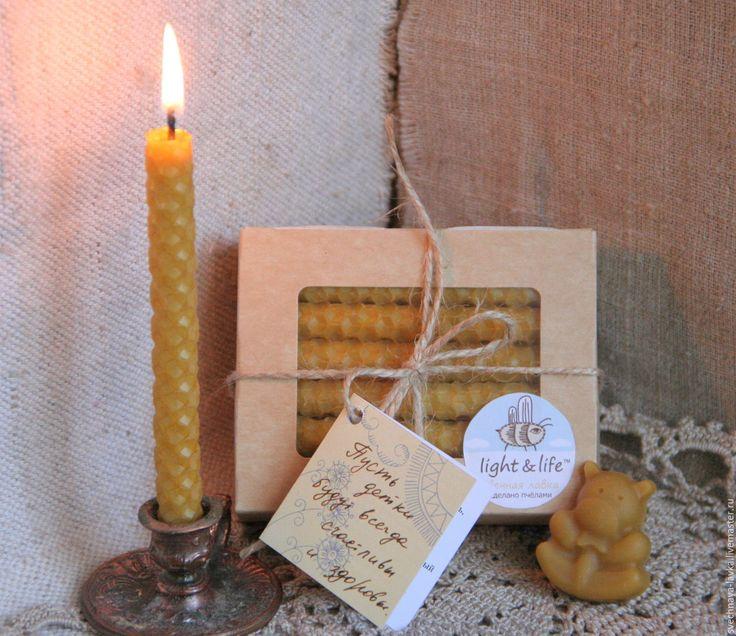 Купить Волшебные светлячки - восковые свечи, свечи ручной работы, Свечи из вощины, свечи из воска