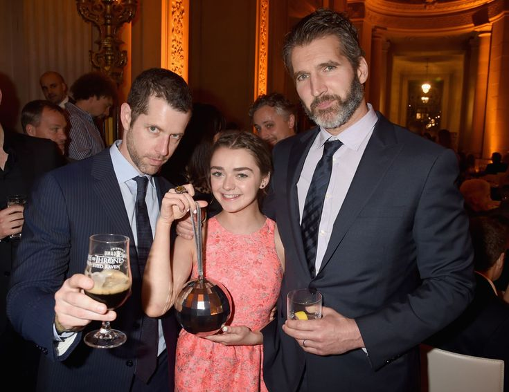 "Creator/executive producers D.B. Weiss, actress Maisie Williams and David Benioff attend the after party for HBO's ""Game of Thrones"" Season 5 at San Francisco City Hall on March 23, 2015 in San Francisco, California"