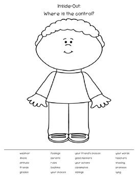 Self control coloring pages for sunday school ~ Inside-Out: Where is the control? Worksheet | **School ...